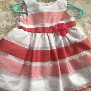 Peach and white stripe baby girl dress